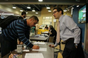 A student takes advantage of opportunities provided at the Part Time Job Fair on Wednesday.