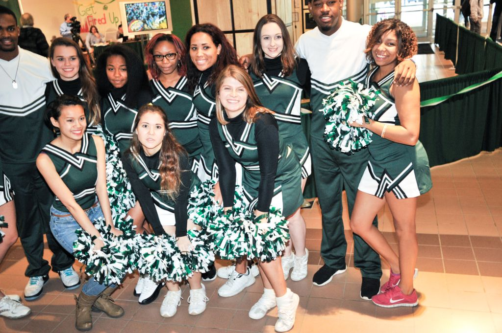 The Cheerleading Club became active this fall after 3 years of inactivity and is once again raising spirit on campus. Photo by Konrad Odhiambo
