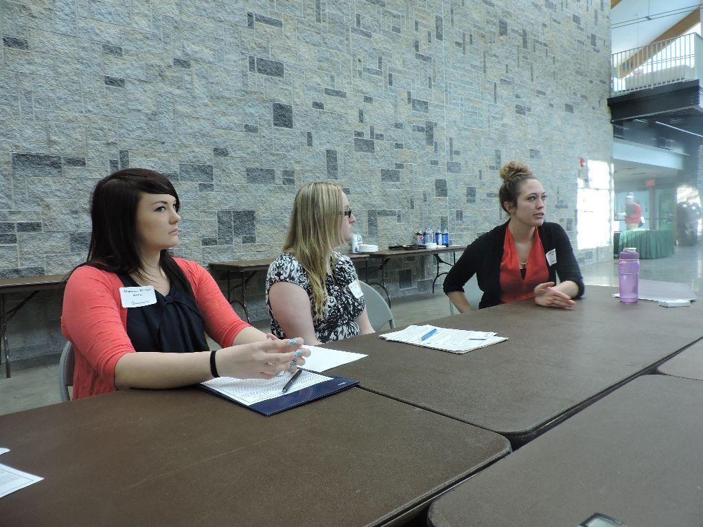 Two Hudson Valley Biological Science students, Shannon Miller (Far left) and Allison Shulltiek (Left) learn how to network in Jennifer Preville's speed-mentoring roundtable on improving interview skills. (1)