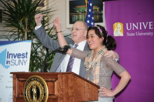 President Drew Matonak with former HVCC student Hannah Infantado.