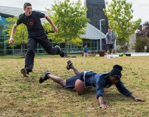 Campus pick-up football games widely received