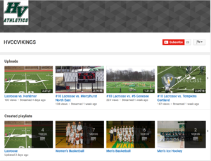 Sports at Hudson Valley are viewable at anytime from Youtube