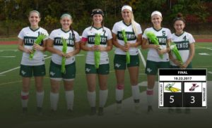 Women's soccer players posed for a photo during their senior night on Sunday, Oct. 22.