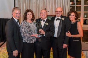 Pictured from left to right: Chairperson of the Board of Directors of The Foundation Frank Sarratori, Karen Matonak, president Andrew Matonak, board of trustees chairperson Neil Kelleher, interim executive director of The Foundation Regina LaGatta.