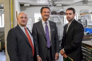 Pictured from left to right: President Drew Matonak, Simmons Machine Tool Corporation president and COO David Davis, Center for Economic Growth president and CEO Andrew Kennedy.